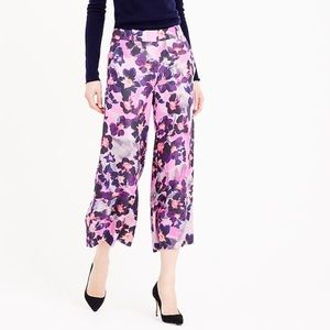 J.Crew Collection Pink Silk Floral Cropped Pants